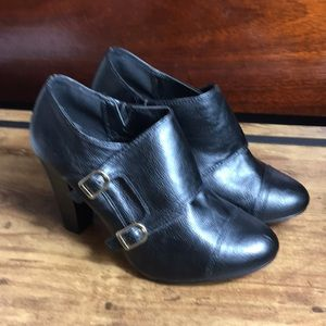 Cato black faux leather stacked heel ankle boots